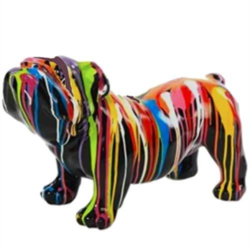 N.C - Estatua de resina decorativa de bulldog inglés (38 cm), color negro