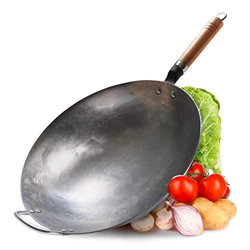 Couner - Wok tradicional de acero al carbono martillado a mano con...