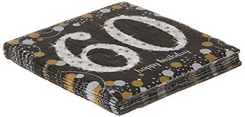 Amscan Sparkling Paper Napkins, 1 Pack, black, gold, silver