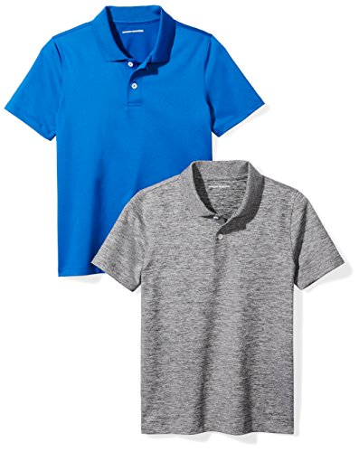 Amazon Essentials Boys Active Performance Polo Shirts, Royal Blue/Space Dye Grey, Small