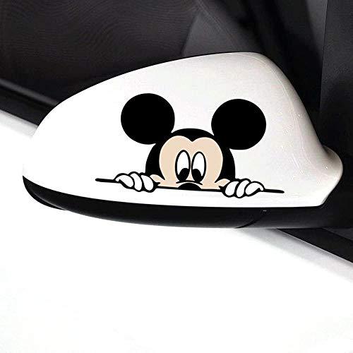 Minnie Mouse autocollant mural Autocollant de voiture drôle mignon Mickey Minnie Mouse Peeping couverture Scratches Cartoon rétroviseur Decal Convient à tous les modèles autocollants de voiture