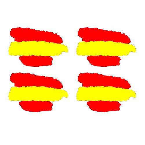 SUPER STICKER Pegatina Bandera de España pincelada, Lote 4 Unidades de 2x3cm: Amazon.es: Coche y moto