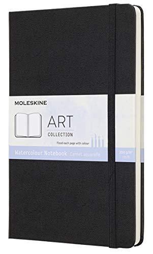 Moleskine Art Collection Watercolor Notebook, Album da Disegno con Copertina Rigida e Chiusura ad Elastico, Carta Adatta a Acquerelli e Matite Acquerellabili, Nero, Large 13 x 21 cm, 72 Pagine