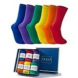 Vkele Socken für Damen & Herren aus feinster Baumwolle, Perfekt als Weihnachtsgeschenke,einfarbig, Rot Orange Grün Lila, Crew Socken, 6 Paar, Gr. 39-42 39 40 41 42
