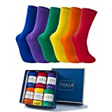 Vkele 6 Paar einfarbige Socken Geschenkpack, kariert, bunt, punkte, gestreift, Business Herrensocken, Crew Socken, Baumwolle, Gr. 39-46, 43-46, Bunt Ⅰ