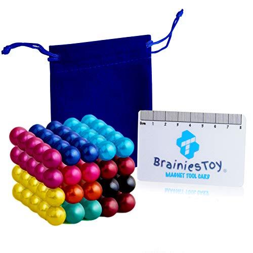 Brainiestoy – 100 Billes Aimantées Colorées 5mm en Néodyme - 10 Couleurs - Aimants Puissants pour Tableau, Frigo, Murs Magnétiques, Photos