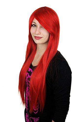Prettyland Perruque 80cm Longue Rouge Rubis Raide Frange Droite Résistant à Chaleur Cosplay Lolita Glamour C614