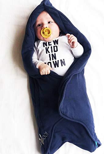Wallaboo Einschlagdecke Fleur für Babyschale, Autokinderstitz, für Kinderwagen, Suße Blumenform, 0 - 12 Monaten, Farbe: Blau