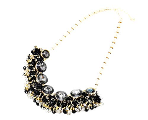 CC560-Collana modello 'Plastron'effetto-Ghirlanda con perle a specchio, colore: nero, fantasia %2fdor é-Mode