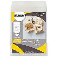 Mr-Label - Φ51mmマットホワイトラウンドラベル-防水と耐裂性-のためのインクジェットやレーザープリンタ-永久接着剤-食品パッケージについて  ボトル  ジャー  封筒
