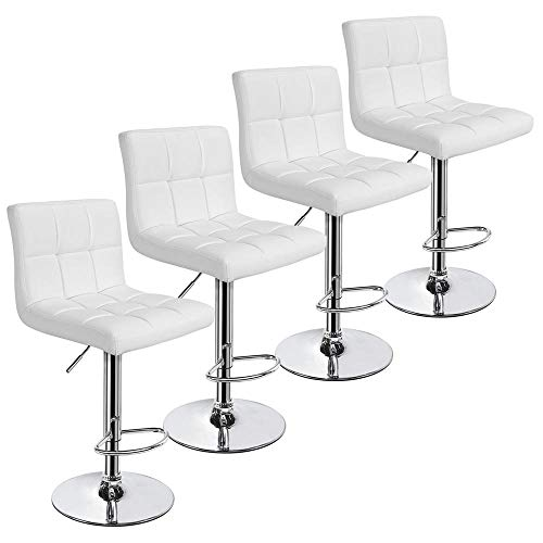 YAHEETECH X-Large Bar Stools - Square PU Leather Adjustable Counter Height Swivel Stool Armless Chairs Set of 4 with Bigger Base,White