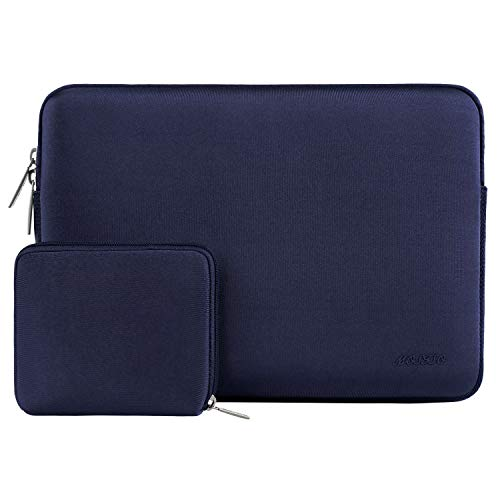 MOSISO Wasserabweisend Neopren Hülle Sleeve Tasche Kompatibel mit 13-13,3 Zoll MacBook Pro, MacBook Air, Notebook Computer Laptophülle Laptoptasche Notebooktasche mit Kleinen Fall, Navy Blau