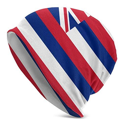 Babydadmother Hawaiian Flag Unisex Adult Winter Ski Large Plain Hat Sleep Beanie Skull Cap Black