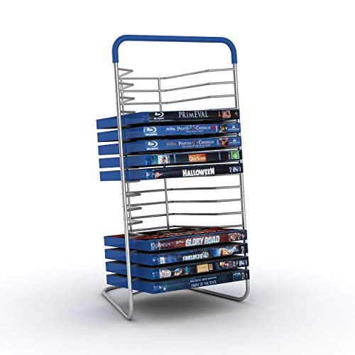 Atlantic Nestable 16 Blu-Ray Rack - Space Saving Modern Design in High End Gunmetal Finish with Blue Molded Handle, PN63735592