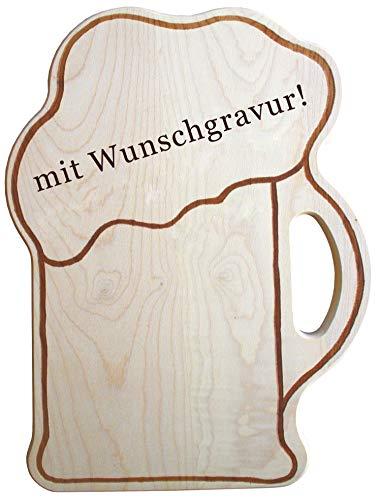 Personalisiertes Brotzeitbrett mit Gravur - Name oder Spruch - witzige Geschenkidee in Bierkrug Form aus Holz, Verschiedene Größen, nutzbar als Vesperbrett, Schneidebrett, Servierbrett & mehr