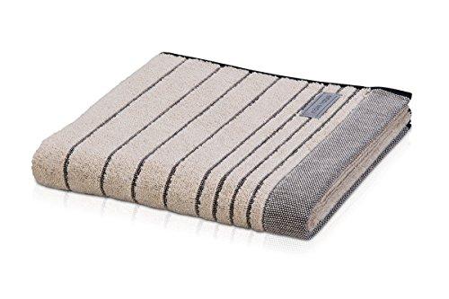 möve Eden Handtuch Querstreifen mit Schlauchsaum 50 x 100 cm aus 80 % Baumwolle / 20 % Leinen, nature / black