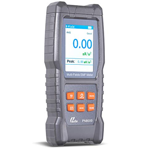 Poniie Rechargeable Digital Multi-Fields EMF Meter, Electric, Magnetic, Radio Frequency (RF) 3-in-1 Electromagnetic Radiation Tester for Phone, WiFi Router, Cellular Tower and Ghost Hunting