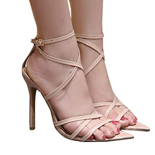 Minetom Damen Sandaletten High Heels Stiletto Sexy Open Toe Hohl Kreuzgurt Sandalen Abend Party Braut Schuhe A Beige 37 EU