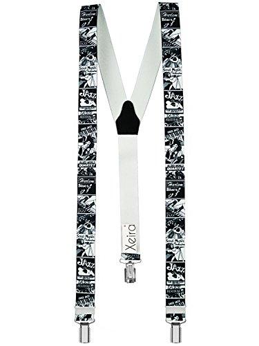 Xeira Bretelles de haute qualité avec 3 Clips fort de 35mm dans 15 Design - Fabriqué en Allemagne - USA/BierDesign (Normal Taille, Jazz)
