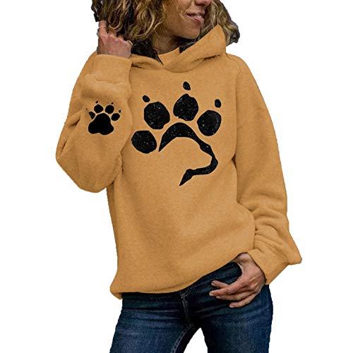 RENJIA IHGWE - Sudadera con capucha para mujer, diseño de huellas de gato amarillo S