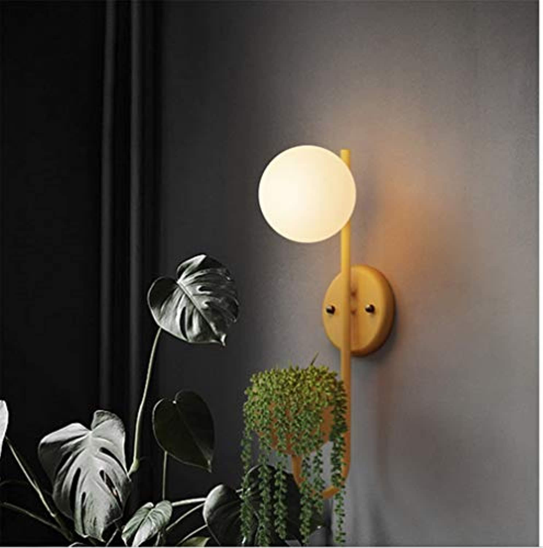 Wandleuchten für den Innenbereich Nordic Macaron Farbe Plant Glass Ball Wandleuchte - Gelb
