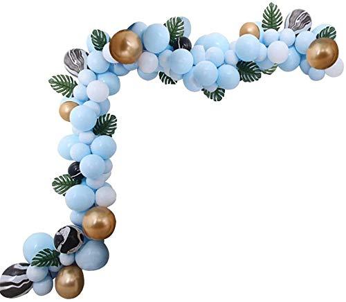 YYLL XHJZ-W Arch Kit 94 Luftballons, Dekorationsset Sm bis XL Luftballons, Klebepunkte, Dekorationsstreifen für Hochzeit, Abschlussfeier, Babyparty, Jubiläum, (Blaue Farben)