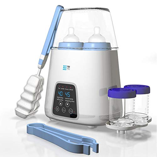 【Upgraded 2020】Dual Bottle Warmer & Sterilizer 5-in-1 Baby with Timer – Two Bottles BPA-Free...