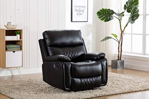 Ottomanson Soft Faux Leather Recliner Manual Single Sofa Home Theater Chair, Black