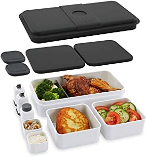 Cloer 800S2-1 lunchlåda XXL 1 L kapacitet/bentolåda/lunchvårdssystem/totalt 3 olika tennstorlekar/salt och pepparshakers