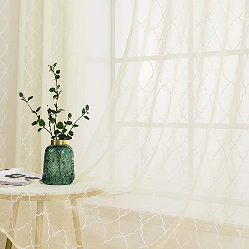 MIULEE 2 Hojas Visillos Bordados Cortinas Translucidas de Dormitorio Moderno Visillo Transparente con Anillas para Ventana Salon Habitación Matrimonio Comedor 140 x 245 cm Geometría Amarillo Claro
