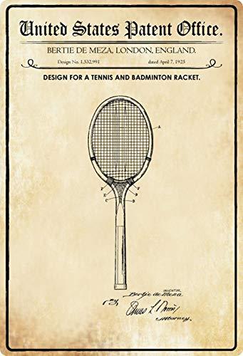 generisch Targa in Metallo 20 x 30 cm Design Brevettato per Una Racchetta da Tennis 1925 Targa Tin Sign
