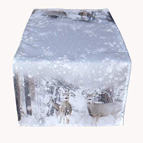 Kamaca Tischläufer 40x90 cm Rehe im Winter hochwertiges Druck-Motiv - EIN Schmuckstück in Winter Weihnachten (Tischläufer 40x90 cm)