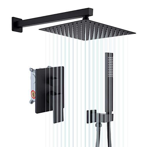 KES Duschset Duschsystem Regendusche Duschkopf 3 Funktion mit Handbrause Duschschlauch Ventil Duscharmatur Duschbrause Dusche Anti-Kalk-Düsen Brausekopf 10 Zoll Matt Schwarz, X6230-BK