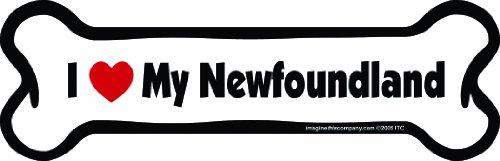 Imagine This Bone Car Magnet, I Love My Newfoundland, 2-Inch by 7-Inch