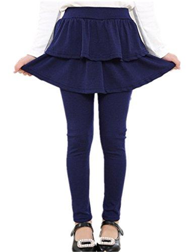 Face Dream Little Girls Footless Leggings With Mini Ruffle Skirt Stretchy Cotton Pantskirt Blue 110