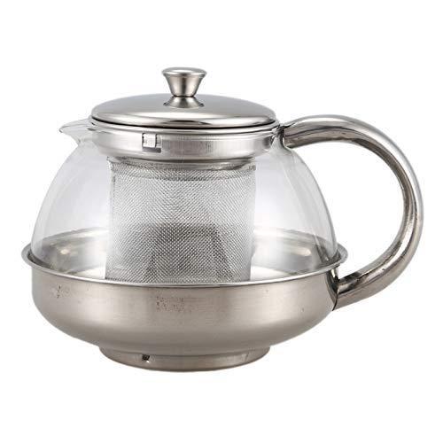 YLJYJ Tetera de Vidrio Grande Tetera de Vidrio Inoxidable Infusor Suelto Café Hoja de té Decoración de Hierbas 800ML (Seta de té)