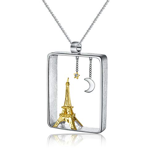 ♥ Regalo para Navidad♥ JIANGYUYAN Colgante de plata esterlina S925 Colgante de diseño de la Torre Eiffel Joyería única hecha a mano creativa para mujeres y niñas