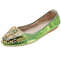 Green Foldable Ballet Flats Rhinestone Pointed Toe Slip on