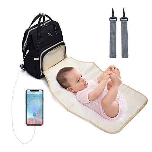 Baby Changing Bag Backpack Baby Diaper Mummy Backpack Large Nappy Bag with USB Charging Port Stroller Strap