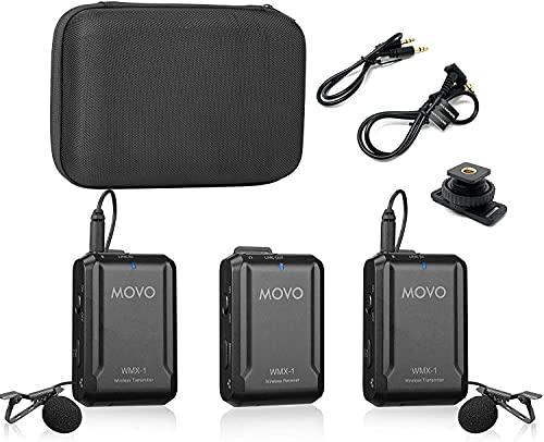 Movo WMX-1-DUO 2.4GHz Drahtloses Lavalier-Mikrofonsystem, kompatibel mit DSLR-Kameras, Camcordern, iPhone, Android-Smartphones und Tablets (200' ft Audio-Reichweite)*