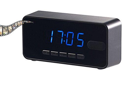 OctaCam Kameras: 4in1-Tischuhr mit Full-HD-Kamera, Wecker, Thermometer, Nachtsicht, PIR (Versteckte Kamera)