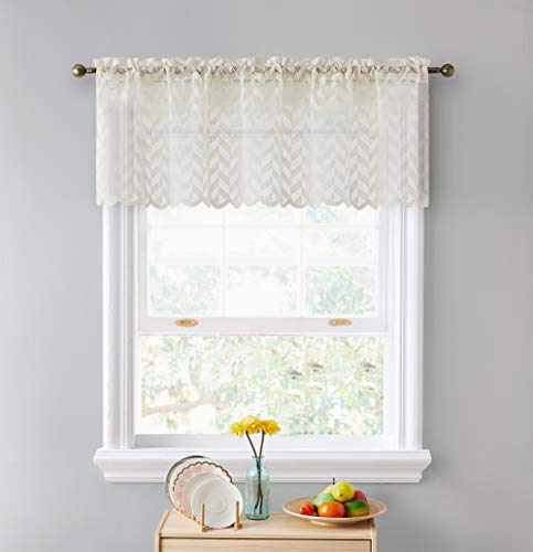 """HLC.ME Herringbone Lace Sheer Kitchen Cafe Curtain Valance Panel - Rod Pocket - Valance for Small Windows, Bathroom & Kitchen - 50"""" Wide x 18"""" Inch Length (Beige, 1 Valance Panel)"""