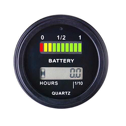 Batterie-Anzeige Batterie-Voltmeter-Anzeige mit Betriebsstundenzähler für Motorrad-Atv-Chronographen-Stromzähler - Schwarz