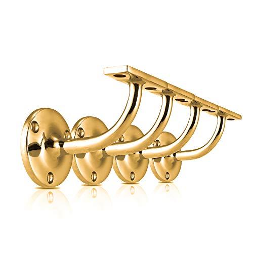 XFORT® Set di 4 staffe per corrimano in ottone lucido, staffa in acciaio inox per corrimano per ringhiere di scale, per corrimano in legno e acciaio inox, staffe di classe ed eleganti per corrimano.