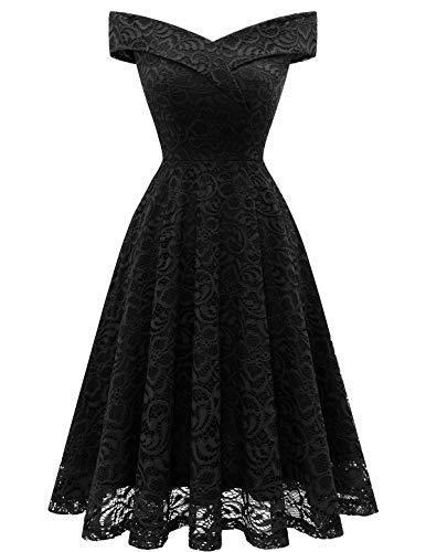 Short Wedding Dress Vintage Floral Lace Dress Off Shoulder Keen Length Cocktail Formal Swing Dress Black-1 XL