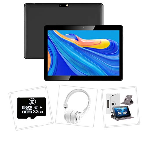 Android 10 Tablet (4G) Bundle (Case, Headphones, Memory Card) with Full HD 10.1' Screen (White)