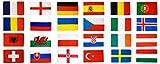Flaggenfritze® Flaggen Set EM 2016 - 90 x 150 cm, alle 24 Nationen + gratis Sticker
