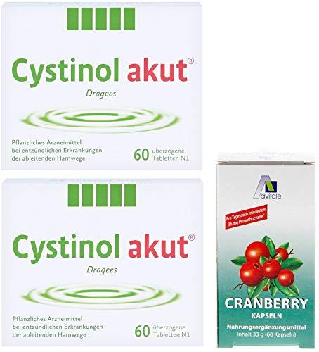 Cystinol Akut 2x 60 Dragees: Pflanzliches Mittel bei entzündlichen Erkrankung der ableitenden Harnwege + GRATIS Cranberry 60 Kapseln