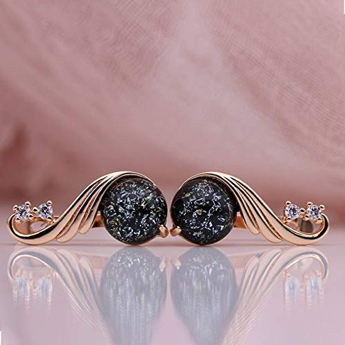 CHQSMZ Earring New 585 Rose Gold White Natural Zircon Women Fashion Jewelry Champagne Crystal Opal Onyx Earring Wedding Fine Earrings Black Amber