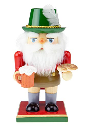 Clever Creations Traditional Wooden German Santa Nutcracker with Pretzel | Festive Christmas Decor | 7' Tall Perfect for Shelves and Tables
